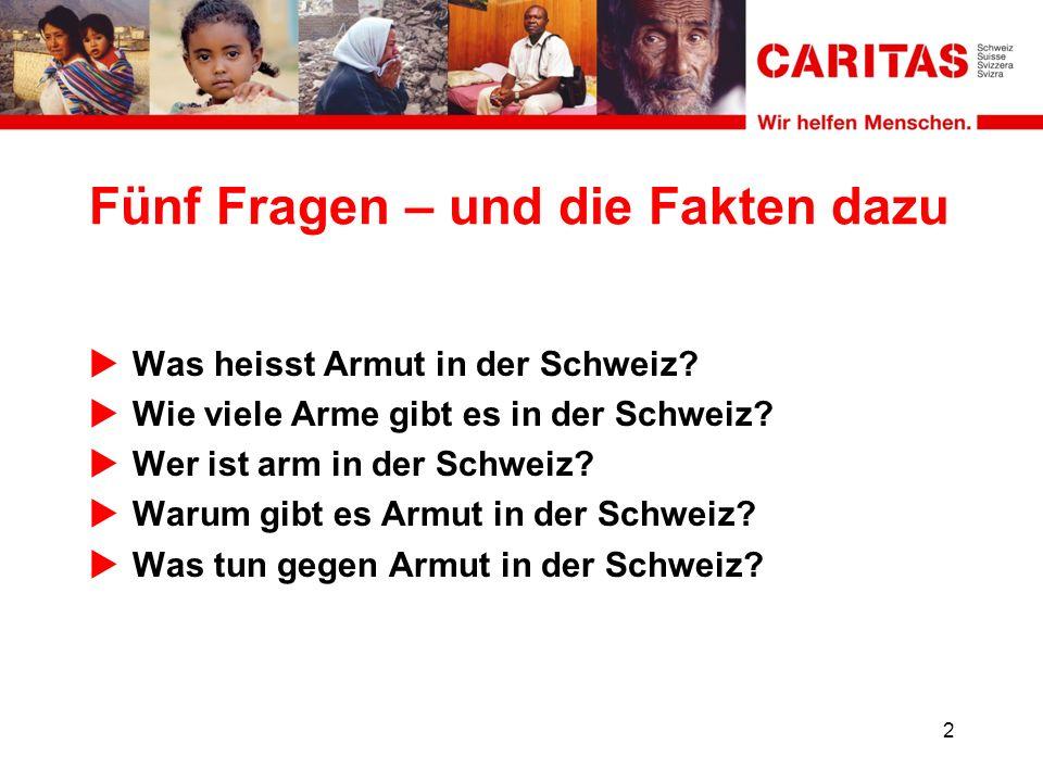Fünf Fragen – und die Fakten dazu Was heisst Armut in der Schweiz.
