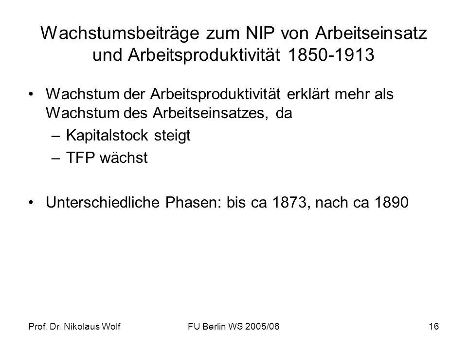 Prof. Dr. Nikolaus WolfFU Berlin WS 2005/0616 Wachstumsbeiträge zum NIP von Arbeitseinsatz und Arbeitsproduktivität 1850-1913 Wachstum der Arbeitsprod