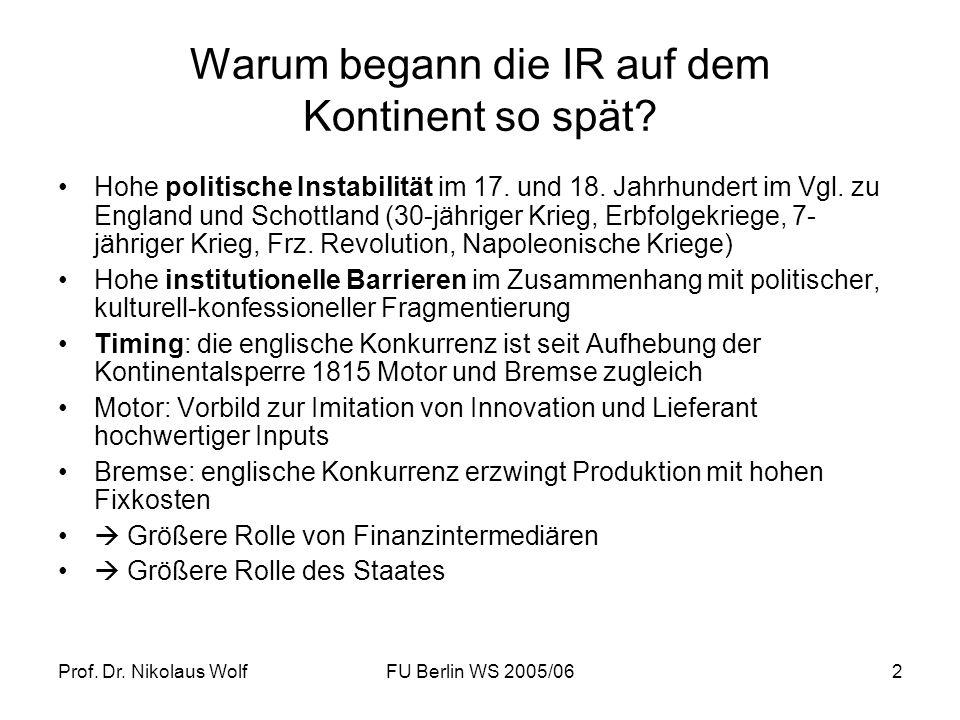 Prof. Dr. Nikolaus WolfFU Berlin WS 2005/062 Warum begann die IR auf dem Kontinent so spät? Hohe politische Instabilität im 17. und 18. Jahrhundert im