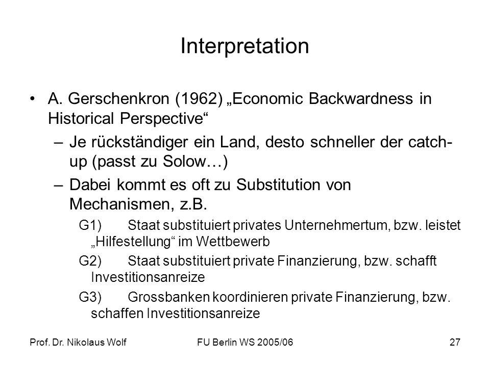 Prof. Dr. Nikolaus WolfFU Berlin WS 2005/0627 Interpretation A. Gerschenkron (1962) Economic Backwardness in Historical Perspective –Je rückständiger