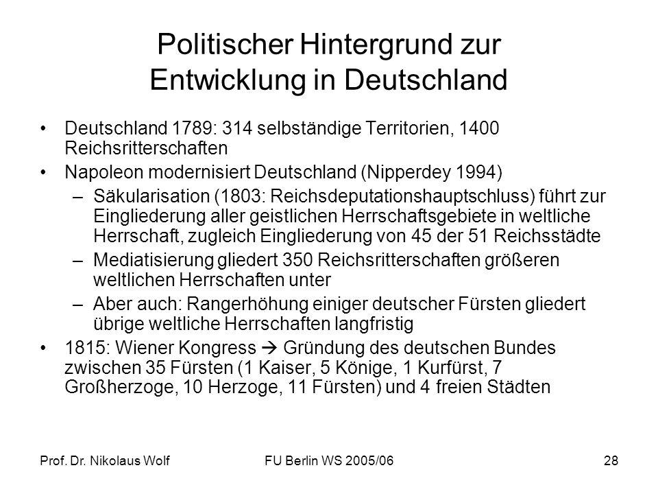 Prof. Dr. Nikolaus WolfFU Berlin WS 2005/0628 Politischer Hintergrund zur Entwicklung in Deutschland Deutschland 1789: 314 selbständige Territorien, 1