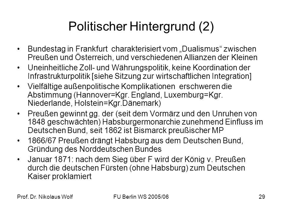 Prof. Dr. Nikolaus WolfFU Berlin WS 2005/0629 Politischer Hintergrund (2) Bundestag in Frankfurt charakterisiert vom Dualismus zwischen Preußen und Ös