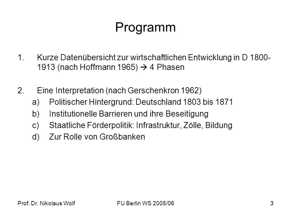 Prof. Dr. Nikolaus WolfFU Berlin WS 2005/063 Programm 1.Kurze Datenübersicht zur wirtschaftlichen Entwicklung in D 1800- 1913 (nach Hoffmann 1965) 4 P