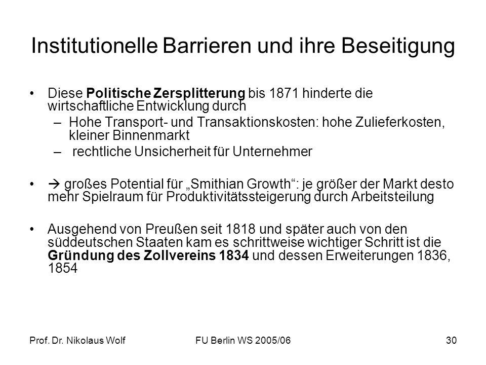 Prof. Dr. Nikolaus WolfFU Berlin WS 2005/0630 Institutionelle Barrieren und ihre Beseitigung Diese Politische Zersplitterung bis 1871 hinderte die wir