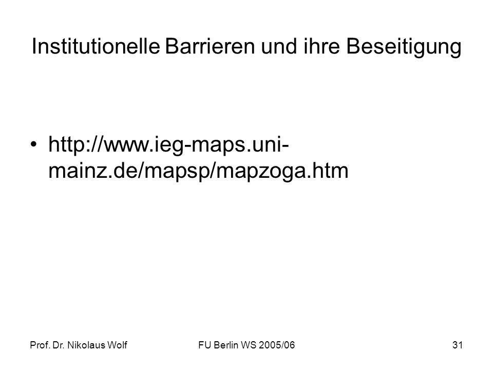 Prof. Dr. Nikolaus WolfFU Berlin WS 2005/0631 Institutionelle Barrieren und ihre Beseitigung http://www.ieg-maps.uni- mainz.de/mapsp/mapzoga.htm