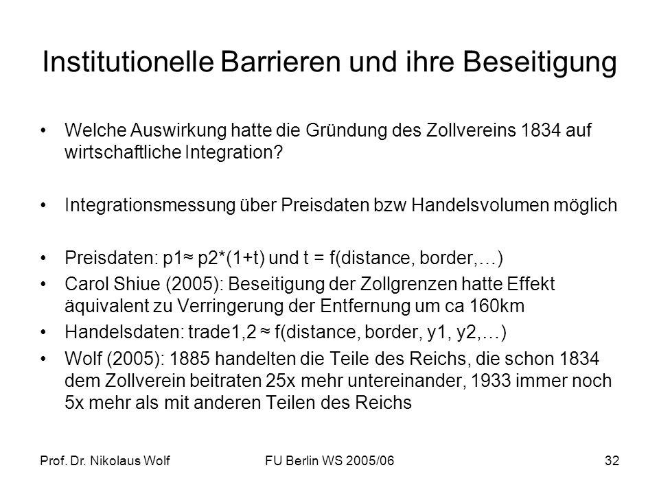 Prof. Dr. Nikolaus WolfFU Berlin WS 2005/0632 Institutionelle Barrieren und ihre Beseitigung Welche Auswirkung hatte die Gründung des Zollvereins 1834