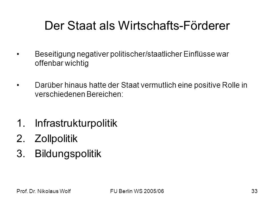Prof. Dr. Nikolaus WolfFU Berlin WS 2005/0633 Der Staat als Wirtschafts-Förderer Beseitigung negativer politischer/staatlicher Einflüsse war offenbar