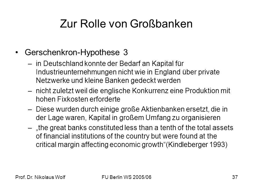Prof. Dr. Nikolaus WolfFU Berlin WS 2005/0637 Zur Rolle von Großbanken Gerschenkron-Hypothese 3 –in Deutschland konnte der Bedarf an Kapital für Indus