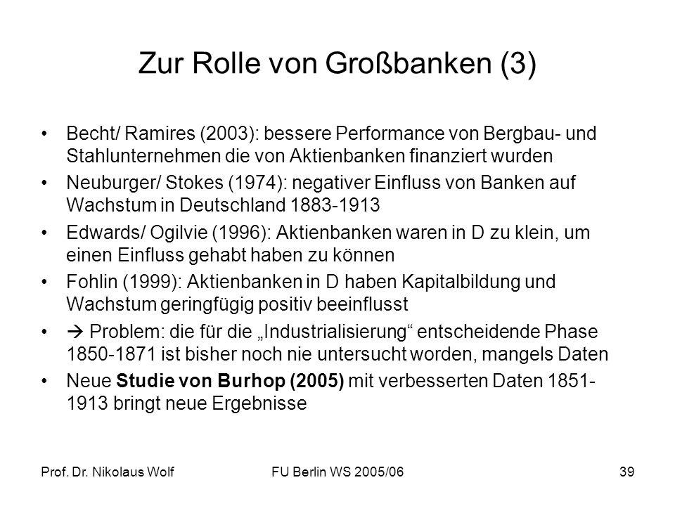 Prof. Dr. Nikolaus WolfFU Berlin WS 2005/0639 Zur Rolle von Großbanken (3) Becht/ Ramires (2003): bessere Performance von Bergbau- und Stahlunternehme