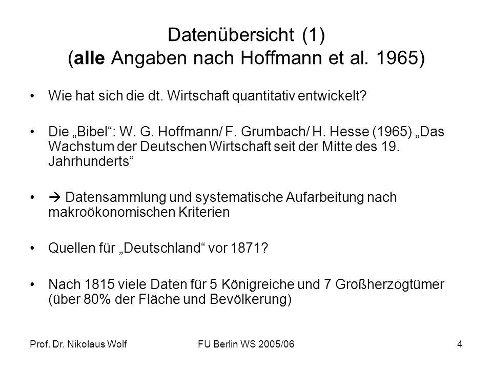 Prof. Dr. Nikolaus WolfFU Berlin WS 2005/064 Datenübersicht (1) (alle Angaben nach Hoffmann et al. 1965) Wie hat sich die dt. Wirtschaft quantitativ e
