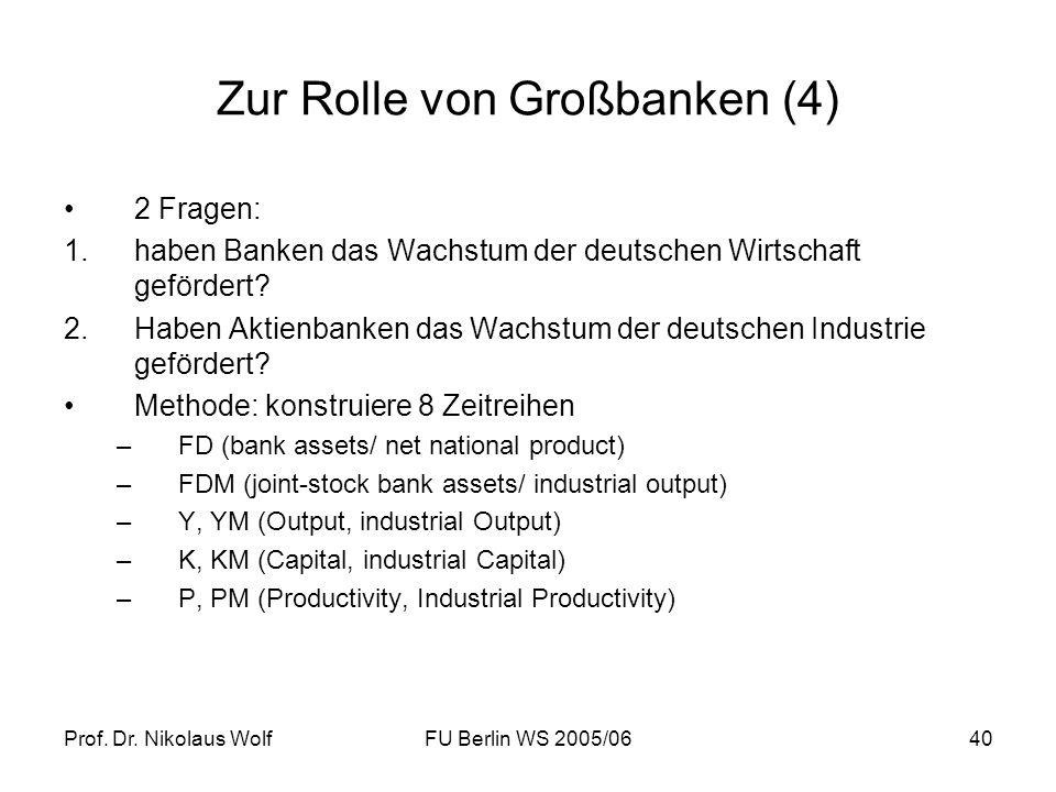 Prof. Dr. Nikolaus WolfFU Berlin WS 2005/0640 Zur Rolle von Großbanken (4) 2 Fragen: 1.haben Banken das Wachstum der deutschen Wirtschaft gefördert? 2