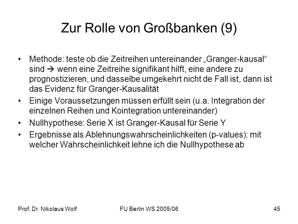 Prof. Dr. Nikolaus WolfFU Berlin WS 2005/0645 Zur Rolle von Großbanken (9) Methode: teste ob die Zeitreihen untereinander Granger-kausal sind wenn ein
