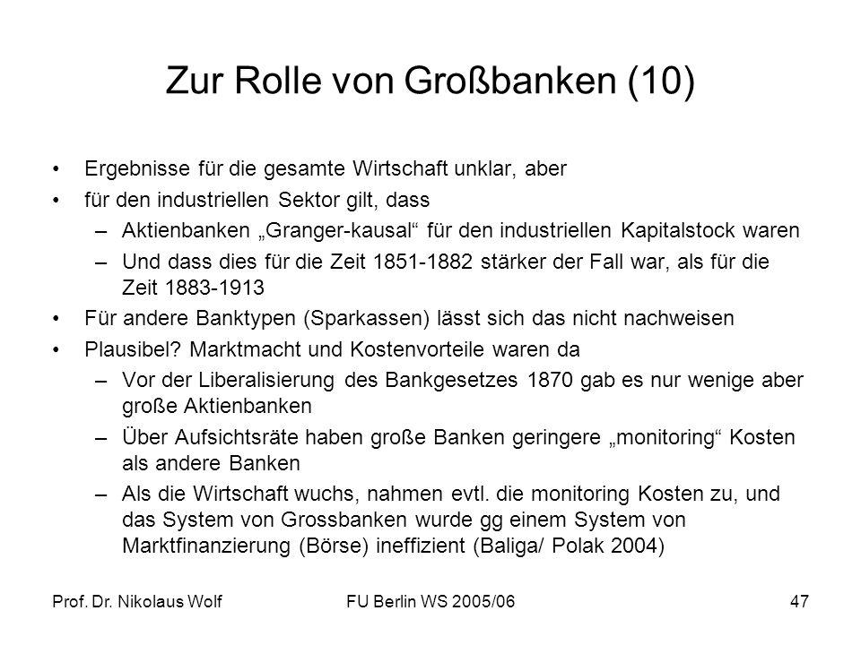 Prof. Dr. Nikolaus WolfFU Berlin WS 2005/0647 Zur Rolle von Großbanken (10) Ergebnisse für die gesamte Wirtschaft unklar, aber für den industriellen S
