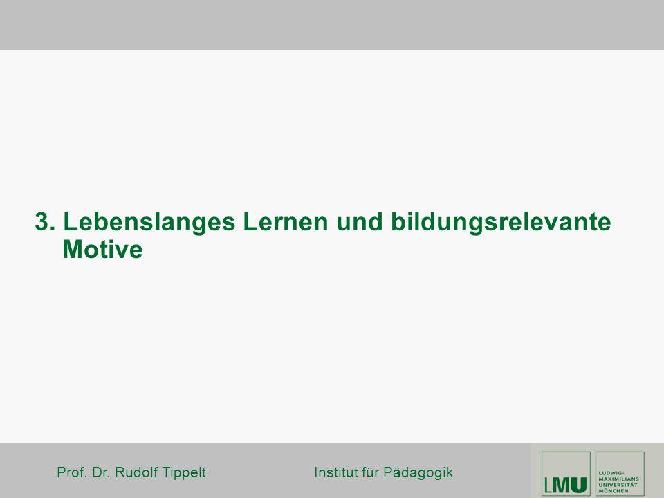 Prof. Dr. Rudolf Tippelt Institut für Pädagogik 3. Lebenslanges Lernen und bildungsrelevante Motive