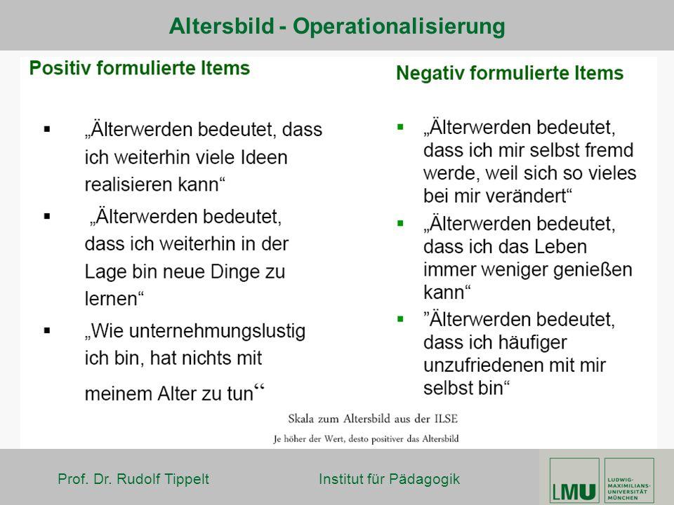 Prof. Dr. Rudolf Tippelt Institut für Pädagogik Altersbild - Operationalisierung