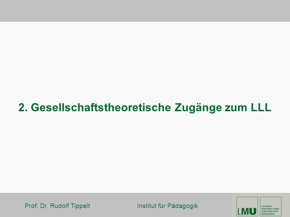 Prof. Dr. Rudolf Tippelt Institut für Pädagogik 2. Gesellschaftstheoretische Zugänge zum LLL