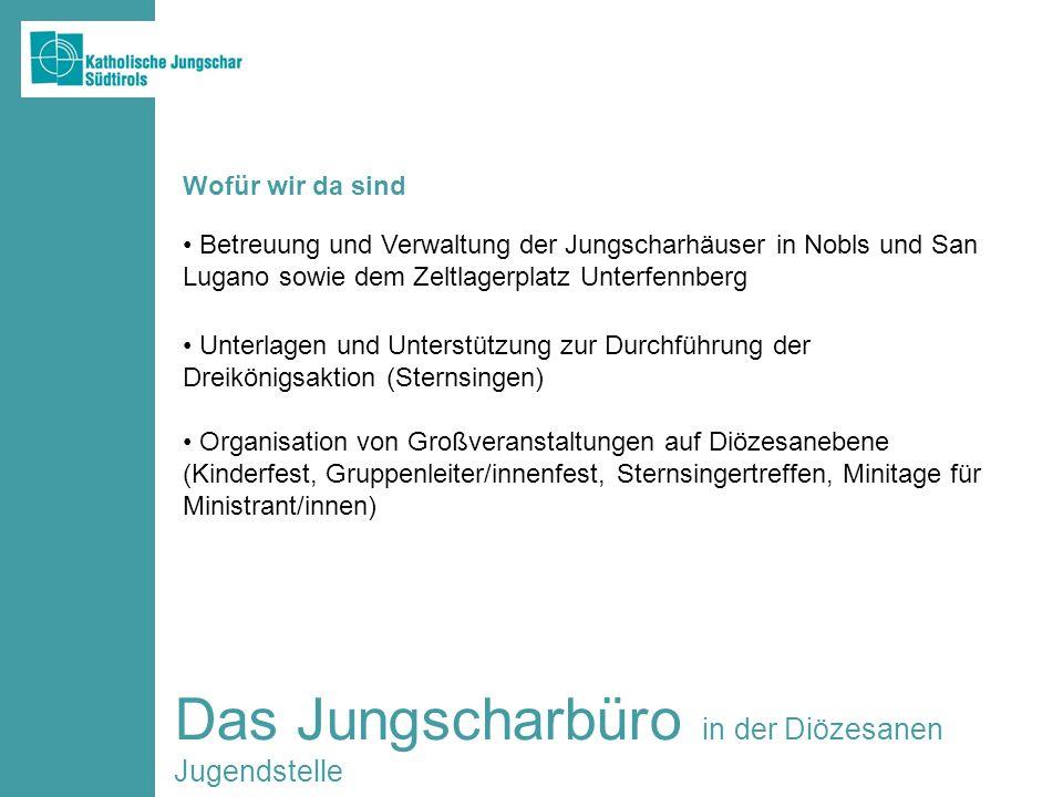 Das Jungscharbüro in der Diözesanen Jugendstelle Betreuung und Verwaltung der Jungscharhäuser in Nobls und San Lugano sowie dem Zeltlagerplatz Unterfe