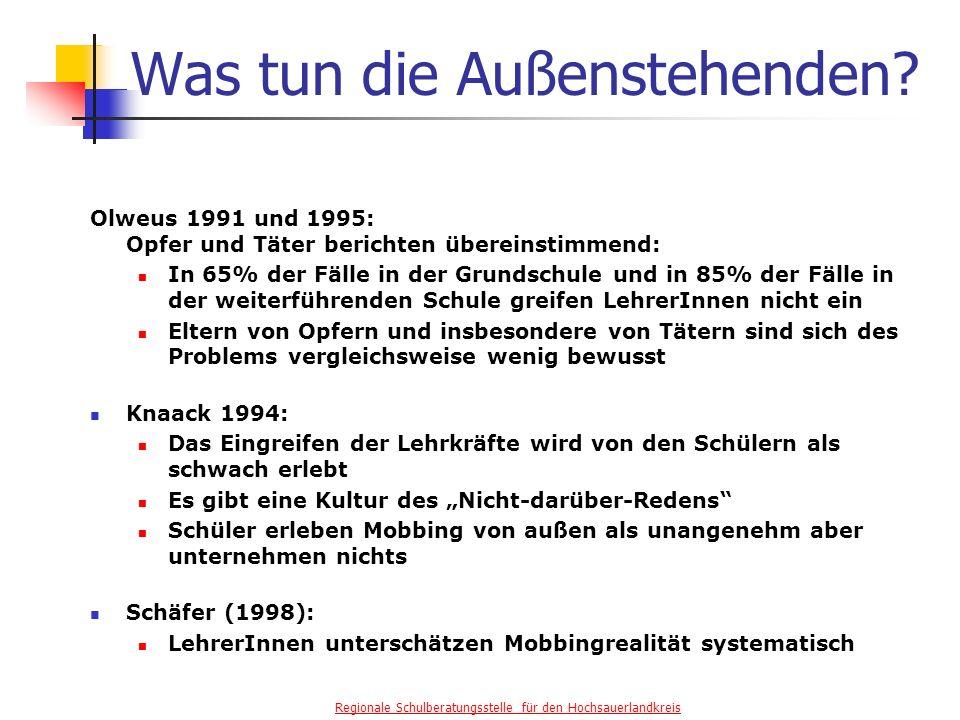 Regionale Schulberatungsstelle für den Hochsauerlandkreis Was tun die Außenstehenden.