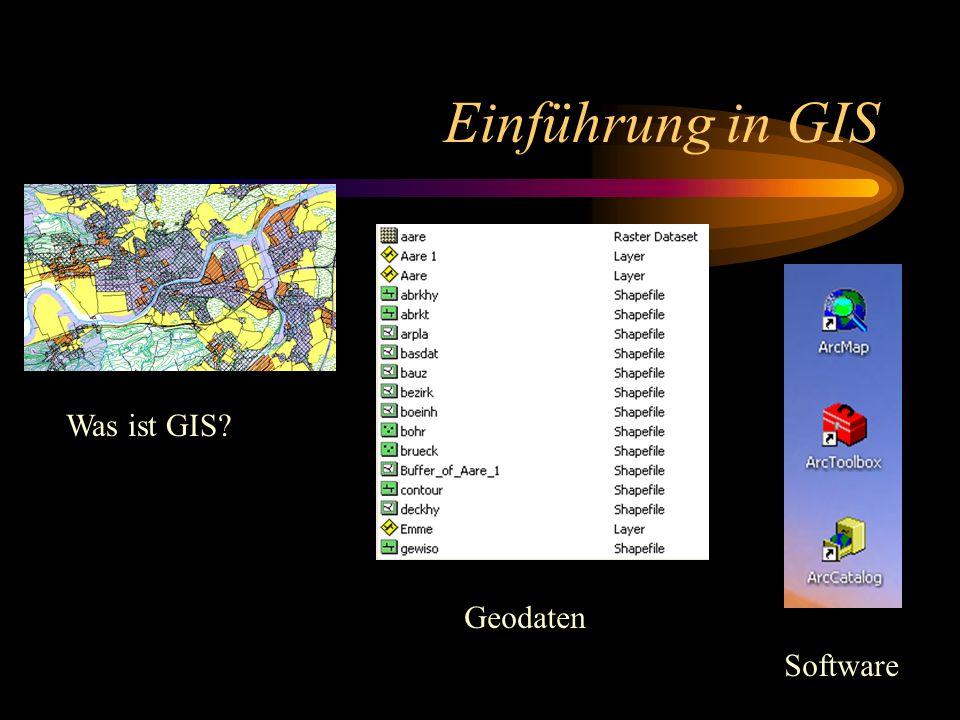 Einführung in GIS Was ist GIS? Geodaten Software