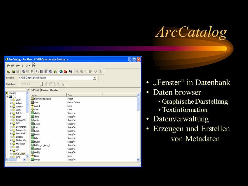 ArcCatalog Fenster in Datenbank Daten browser Graphische Darstellung Textinformation Datenverwaltung Erzeugen und Erstellen von Metadaten