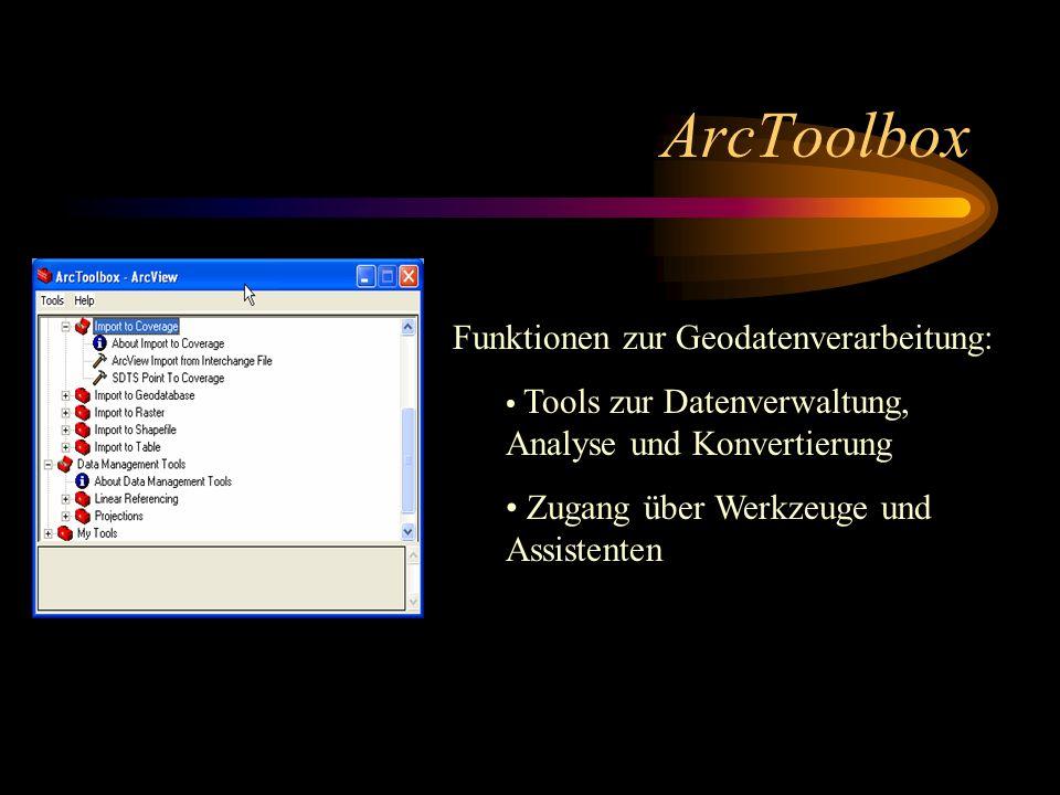 ArcToolbox Funktionen zur Geodatenverarbeitung: Tools zur Datenverwaltung, Analyse und Konvertierung Zugang über Werkzeuge und Assistenten