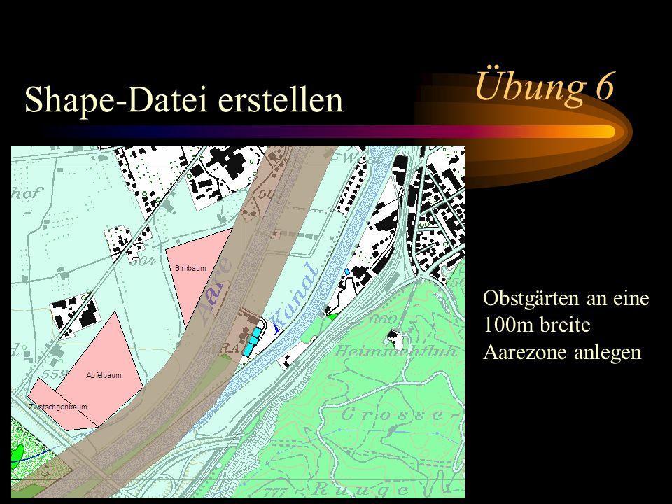Übung 6 Shape-Datei erstellen Obstgärten an eine 100m breite Aarezone anlegen