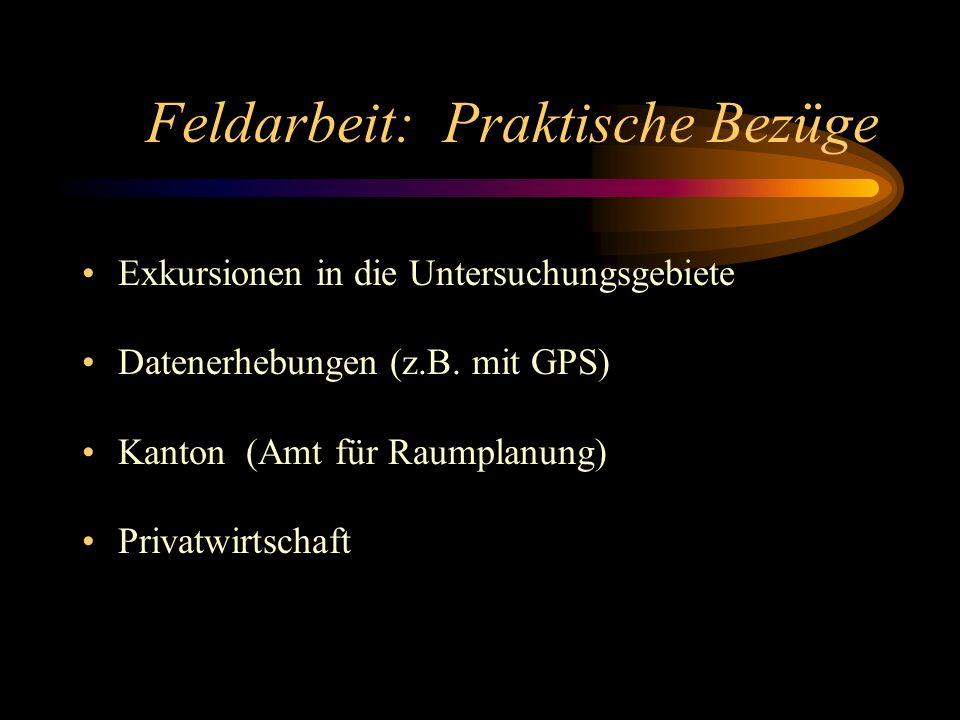 Feldarbeit: Praktische Bezüge Exkursionen in die Untersuchungsgebiete Datenerhebungen (z.B. mit GPS) Kanton (Amt für Raumplanung) Privatwirtschaft