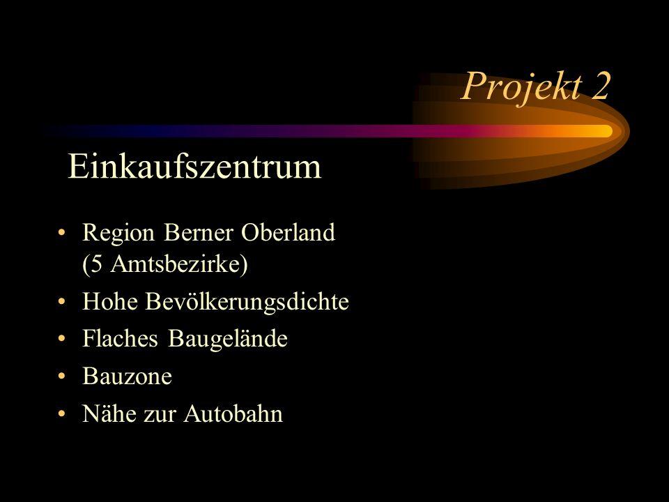 Projekt 2 Region Berner Oberland (5 Amtsbezirke) Hohe Bevölkerungsdichte Flaches Baugelände Bauzone Nähe zur Autobahn Einkaufszentrum