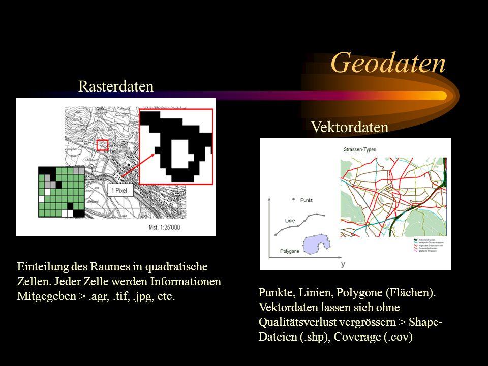 Geodaten Rasterdaten Vektordaten Punkte, Linien, Polygone (Flächen). Vektordaten lassen sich ohne Qualitätsverlust vergrössern > Shape- Dateien (.shp)
