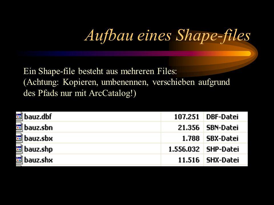 Aufbau eines Shape-files Ein Shape-file besteht aus mehreren Files: (Achtung: Kopieren, umbenennen, verschieben aufgrund des Pfads nur mit ArcCatalog!)