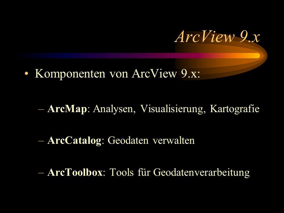 ArcView 9.x Komponenten von ArcView 9.x: –ArcMap: Analysen, Visualisierung, Kartografie –ArcCatalog: Geodaten verwalten –ArcToolbox: Tools für Geodatenverarbeitung