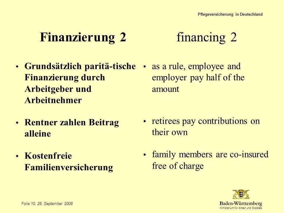Ministerium für Arbeit und Soziales Finanzierung 2financing 2 Grundsätzlich paritä-tische Finanzierung durch Arbeitgeber und Arbeitnehmer Rentner zahl