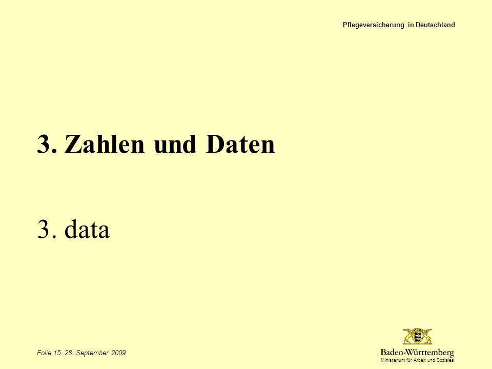 Ministerium für Arbeit und Soziales 3. Zahlen und Daten 3. data Pflegeversicherung in Deutschland Folie 15, 28. September 2009