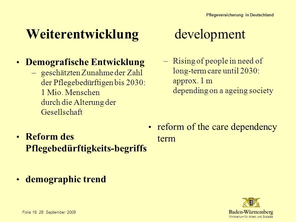 Ministerium für Arbeit und Soziales Weiterentwicklungdevelopment Finanzierungsreform Ambulantisierung der Pflege reformation of financing more out-patient care Pflegeversicherung in Deutschland Folie 20, 28.
