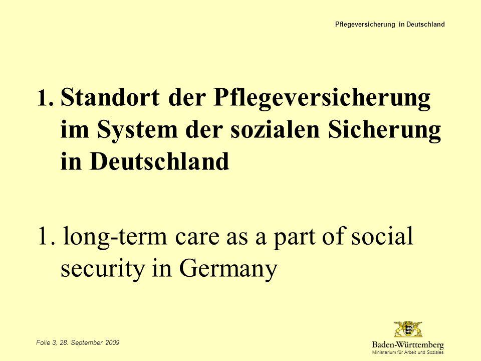 Ministerium für Arbeit und Soziales 1. Standort der Pflegeversicherung im System der sozialen Sicherung in Deutschland 1. long-term care as a part of