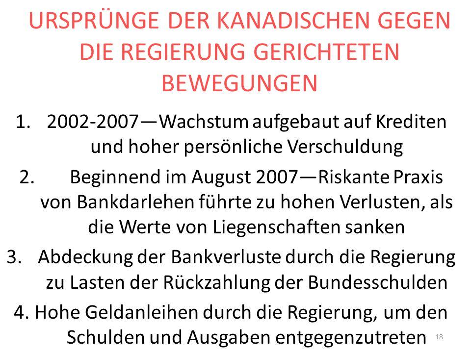URSPRÜNGE DER KANADISCHEN GEGEN DIE REGIERUNG GERICHTETEN BEWEGUNGEN 1.2002-2007Wachstum aufgebaut auf Krediten und hoher persönliche Verschuldung 2.
