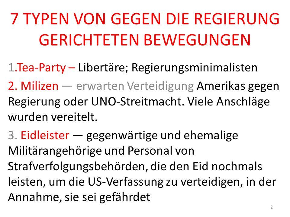 7 TYPEN VON GEGEN DIE REGIERUNG GERICHTETEN BEWEGUNGEN 1.Tea-Party – Libertäre; Regierungsminimalisten 2.