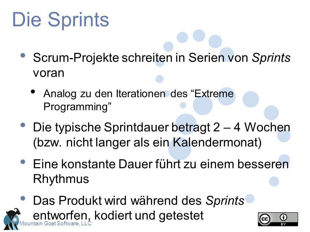 Mountain Goat Software, LLC Die Sprints Scrum-Projekte schreiten in Serien von Sprints voran Analog zu den Iterationen des Extreme Programming Die typ