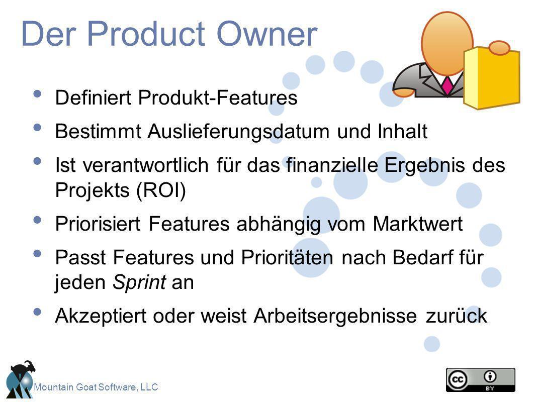 Mountain Goat Software, LLC Der Product Owner Definiert Produkt-Features Bestimmt Auslieferungsdatum und Inhalt Ist verantwortlich für das finanzielle