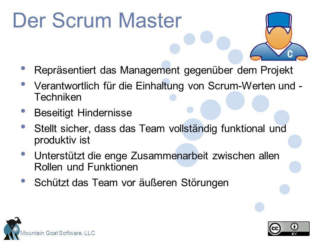Mountain Goat Software, LLC Der Scrum Master Repräsentiert das Management gegenüber dem Projekt Verantwortlich für die Einhaltung von Scrum-Werten und