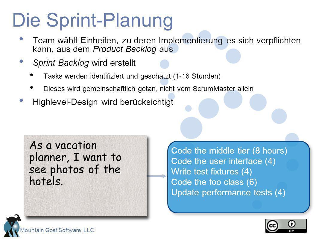 Mountain Goat Software, LLC Die Sprint-Planung Team wählt Einheiten, zu deren Implementierung es sich verpflichten kann, aus dem Product Backlog aus S