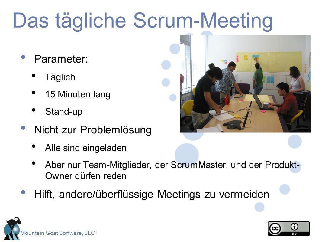 Mountain Goat Software, LLC Das tägliche Scrum-Meeting Parameter: Täglich 15 Minuten lang Stand-up Nicht zur Problemlösung Alle sind eingeladen Aber n