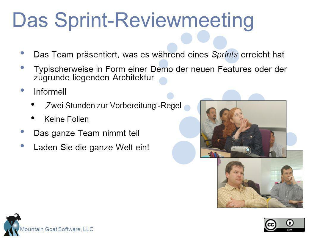 Mountain Goat Software, LLC Das Sprint-Reviewmeeting Das Team präsentiert, was es während eines Sprints erreicht hat Typischerweise in Form einer Demo