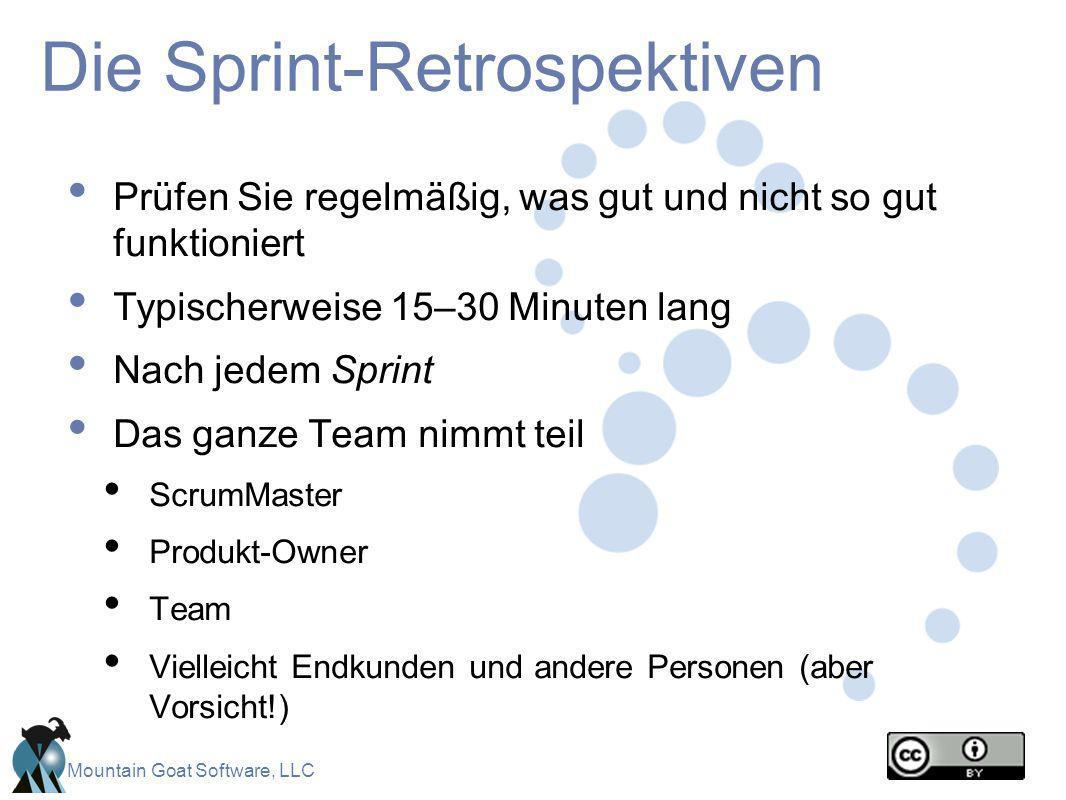 Mountain Goat Software, LLC Die Sprint-Retrospektiven Prüfen Sie regelmäßig, was gut und nicht so gut funktioniert Typischerweise 15–30 Minuten lang N