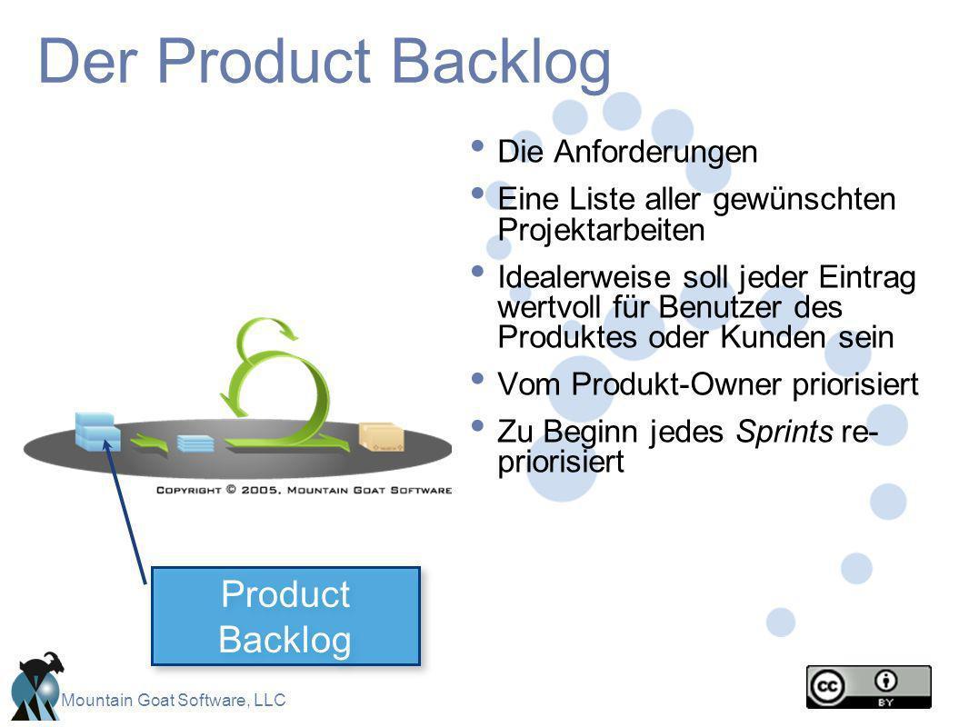 Mountain Goat Software, LLC Der Product Backlog Die Anforderungen Eine Liste aller gewünschten Projektarbeiten Idealerweise soll jeder Eintrag wertvol