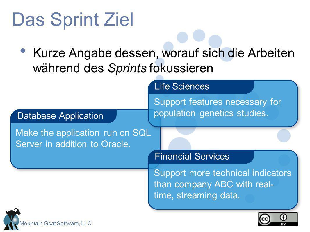 Mountain Goat Software, LLC Das Sprint Ziel Kurze Angabe dessen, worauf sich die Arbeiten während des Sprints fokussieren Database Application Financi