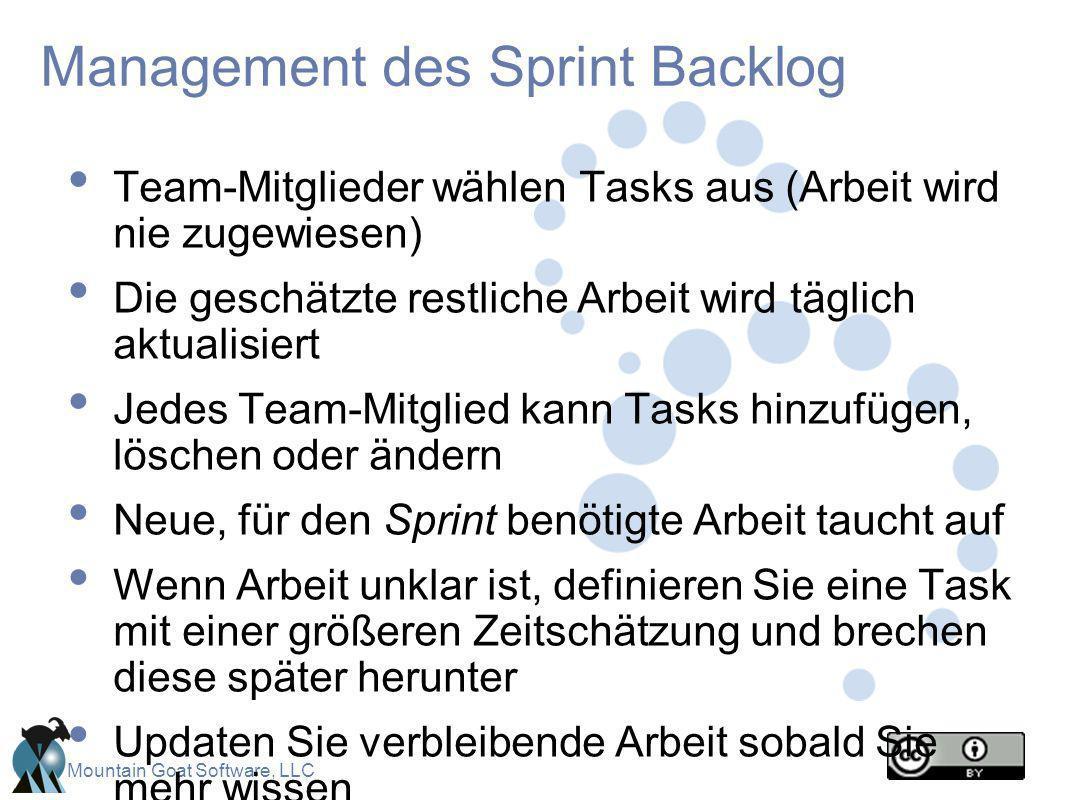 Mountain Goat Software, LLC Management des Sprint Backlog Team-Mitglieder wählen Tasks aus (Arbeit wird nie zugewiesen) Die geschätzte restliche Arbei