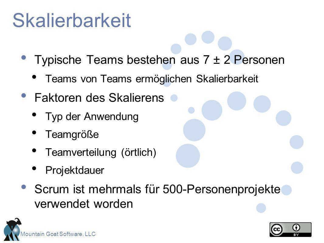 Mountain Goat Software, LLC Skalierbarkeit Typische Teams bestehen aus 7 ± 2 Personen Teams von Teams ermöglichen Skalierbarkeit Faktoren des Skaliere