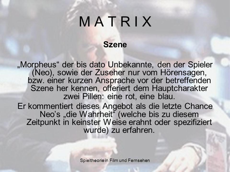 Spieltheorie in Film und Fernsehen M A T R I X Szene Morpheus der bis dato Unbekannte, den der Spieler (Neo), sowie der Zuseher nur vom Hörensagen, bz