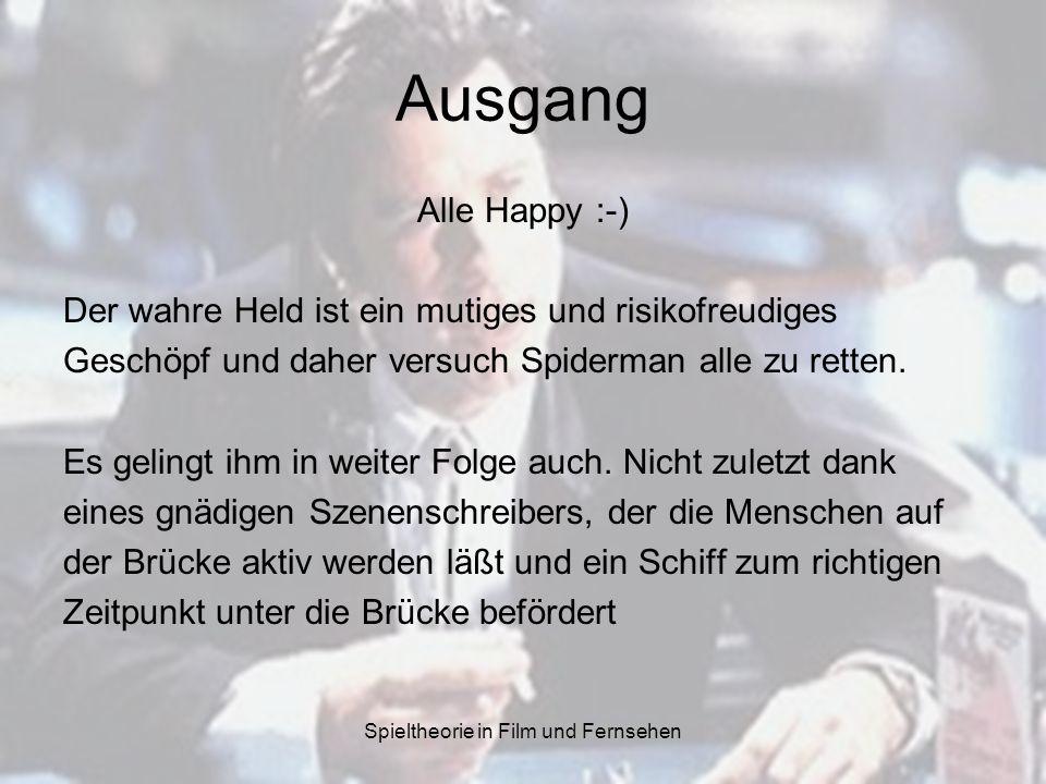 Spieltheorie in Film und Fernsehen Ausgang Alle Happy :-) Der wahre Held ist ein mutiges und risikofreudiges Geschöpf und daher versuch Spiderman alle zu retten.